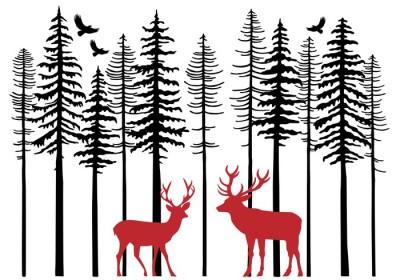 Jodła drzewa z lasu renifery, wektor