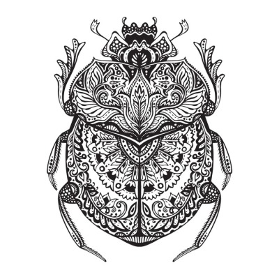 Black and white hand drawn zentangle stylized scarab.