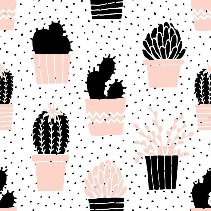 Adesivo per Tavolino Lack Hand Drawn Cactus pattern - Risorse Grafiche