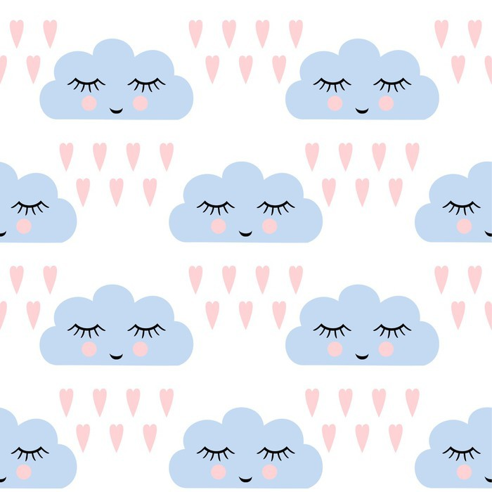 Clouds pattern. Seamless pattern with smiling sleeping clouds and hearts for kids holidays. Cute baby shower vector background. Child drawing style rainy clouds in love vector illustration. Vinyl Wall Mural - Graphic Resources