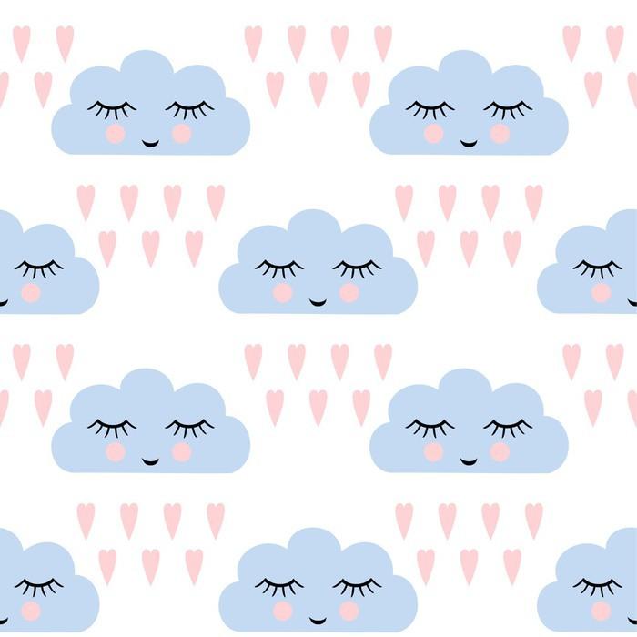 Vinil Duvar Resmi Bulutlar desen. uyku bulutlar ve çocuklar tatil için kalpleri gülümseyen ile sorunsuz desen. Sevimli bebek duş vector background. aşk vektör çizim çocuk çizim tarzı yağışlı bulutlar. - Grafik kaynakları