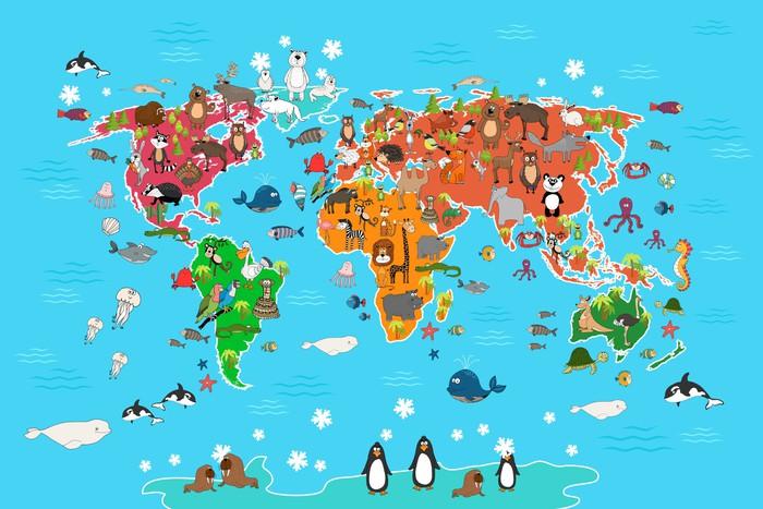 Carta da parati mappa del mondo con gli animali scimmia e