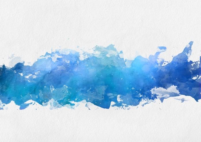 Artistic Blue Watercolor Splash Effect Template Wall Mural
