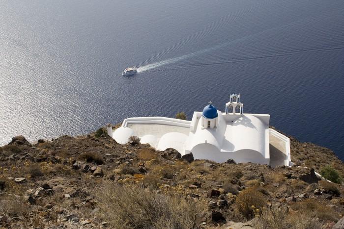 Vinylová Tapeta Ostrov Santorini, kostel na hoře - Náboženství