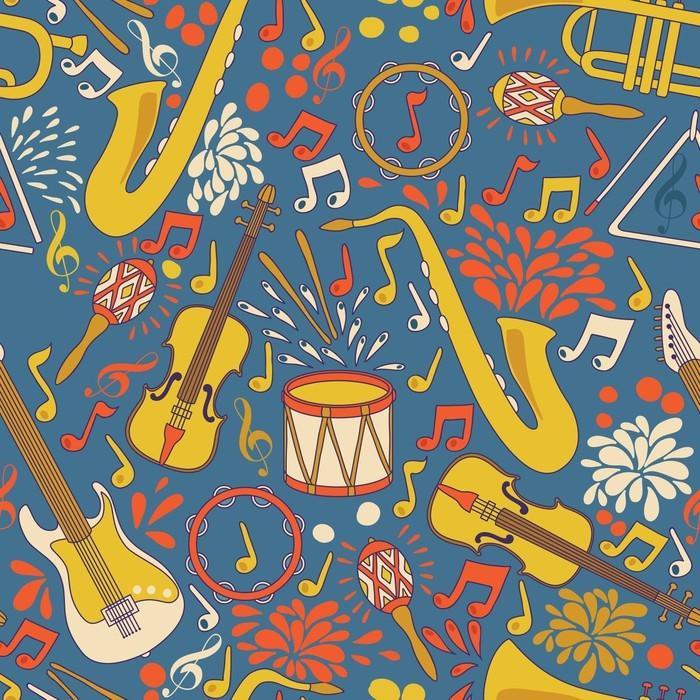 Vinylová Tapeta Vektor bezešvé vzor s hudebními nástroji. vektorové ilustrace. abstraktní hudební pozadí - Grafika