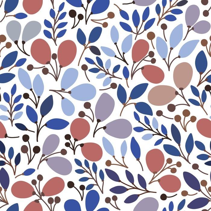 Fototapete Vektor nahtlose Muster mit Blättern. Es kann für Desktop ...