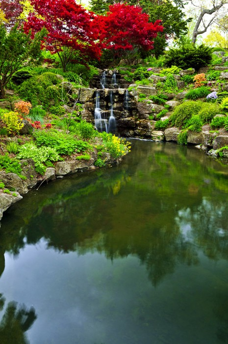 Cascading Waterfall And Pond In Japanese Garden Vinyl Wall Mural   Water
