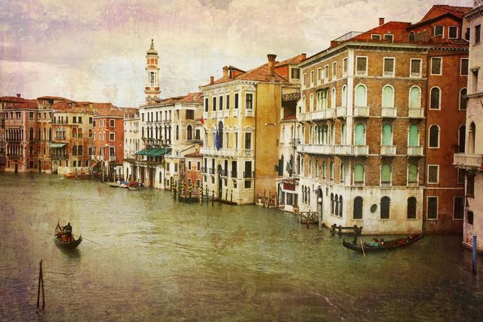Vinylová Tapeta Pohlednice z Itálie. - Gondoly Grand Canal - Benátky. - Témata
