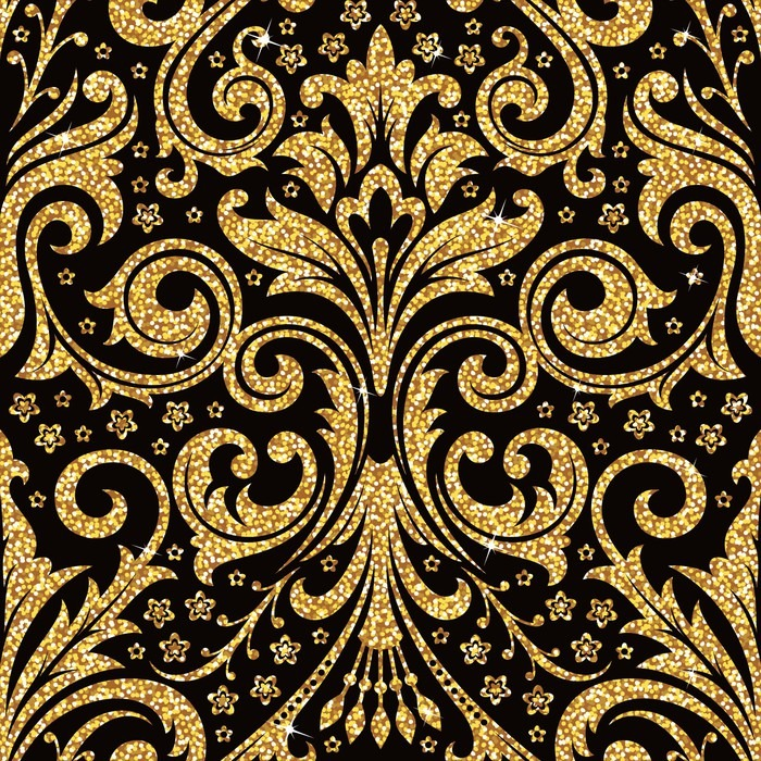 Floral Golden Wallpaper Poster