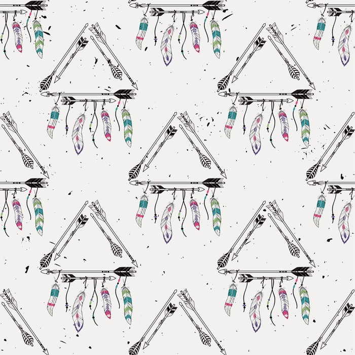 vector abstract grunge seamless pattern with tribal frames with