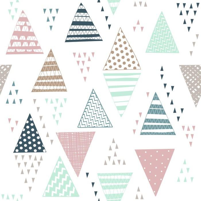 Vinylová Tapeta Bezešvé vzor s ozdobnými ručně kreslených trojúhelníků. - Grafika