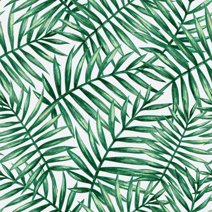 papier peint motifs feuilles de palmier tropical aquarelle transparente motif illustration. Black Bedroom Furniture Sets. Home Design Ideas