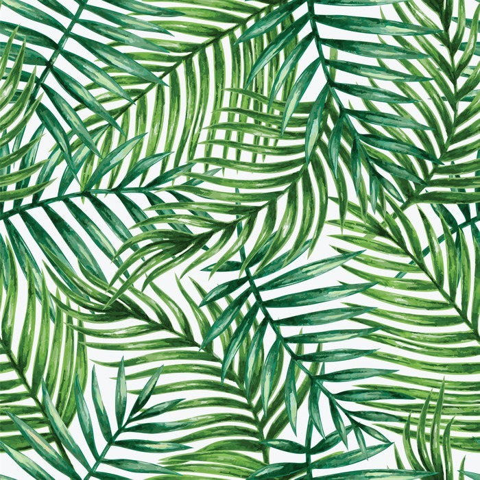 Vinilo Pixerstick Watercolor tropical palm leaves seamless pattern. Vector illustration. - Fondos