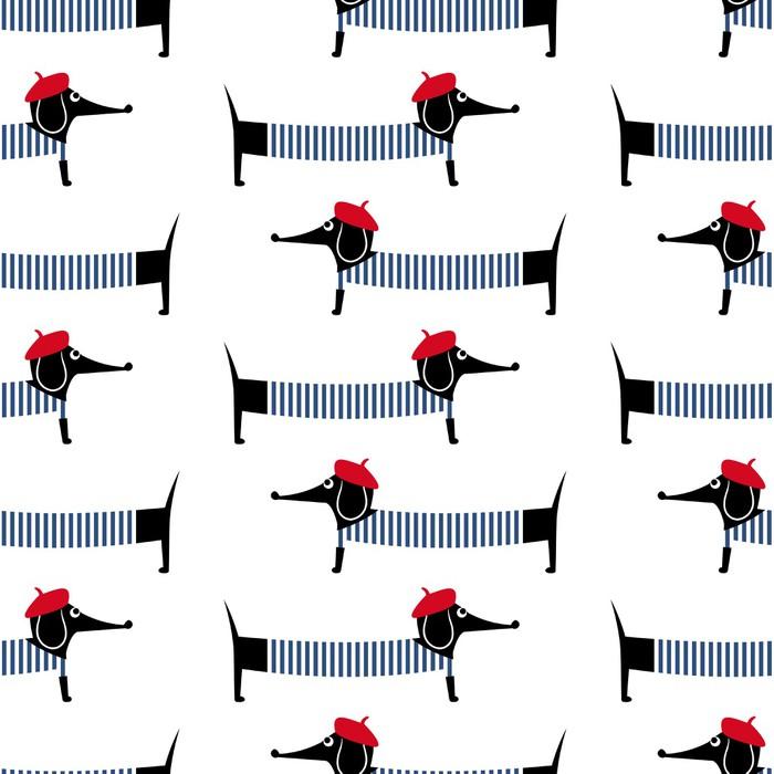 Carta da Parati in Vinile Cane stile francese seamless. Simpatico cartone animato illustrazione vettoriale parigino bassotto. Bambino disegno cucciolo stile di sfondo. Francese cane vestito stile con berretto rosso e abito a strisce. - Mammiferi
