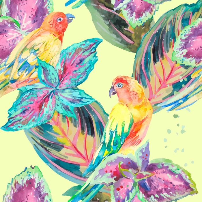 Samolepicí Fototapeta Akvarel Papoušci .Tropical květiny a listy. Exotický. - Rostliny a květiny
