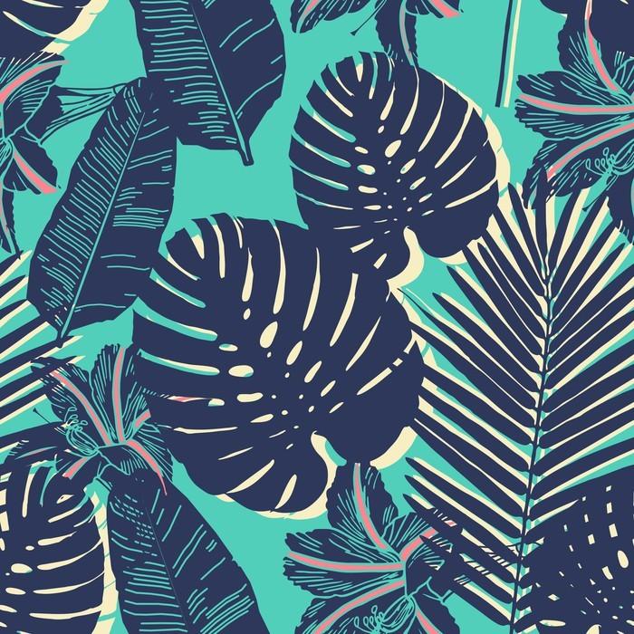 papier peint motif bleu palm tropical feuille transparente pixers nous vivons pour changer. Black Bedroom Furniture Sets. Home Design Ideas