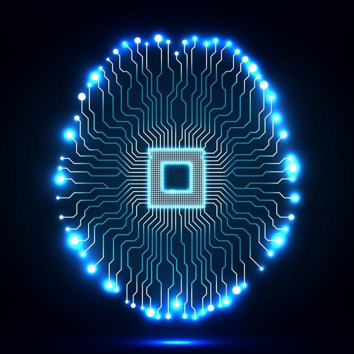 Canvastavla Neon hjärnan. Cpu. Kretskort. Sammanfattning teknik bakgrund. Vektor illustration. eps 10 - Teknik