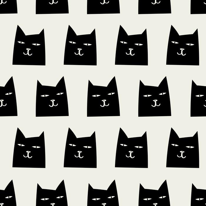 Carta da Parati in Vinile Pattern di gatto senza soluzione di continuità - Risorse Grafiche