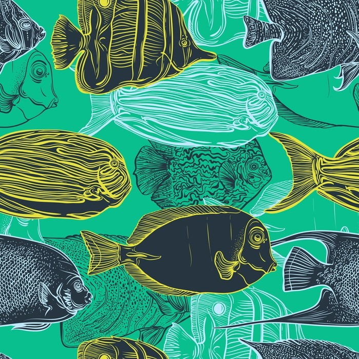 Poster Seamless Pattern With Collection Of Tropical FishVintage Set Hand Drawn Marine Fauna