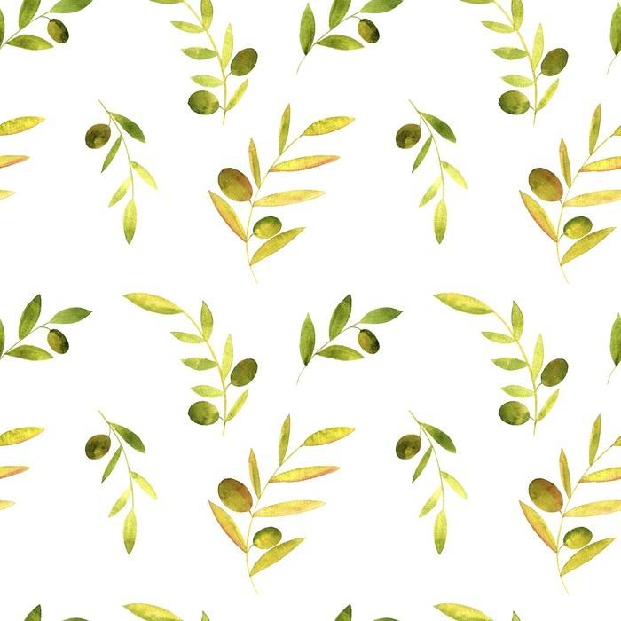 Vinylová Tapeta Akvarel bezproblémové vzorek s olivami, listí a větve - Rostliny a květiny