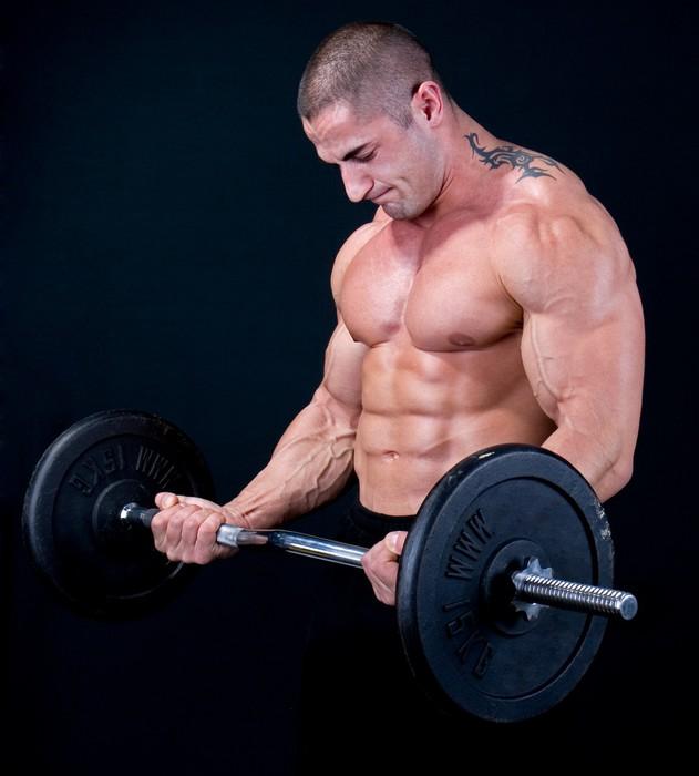 Tableau sur Toile Homme avec un poids à barres dans la formation mains -