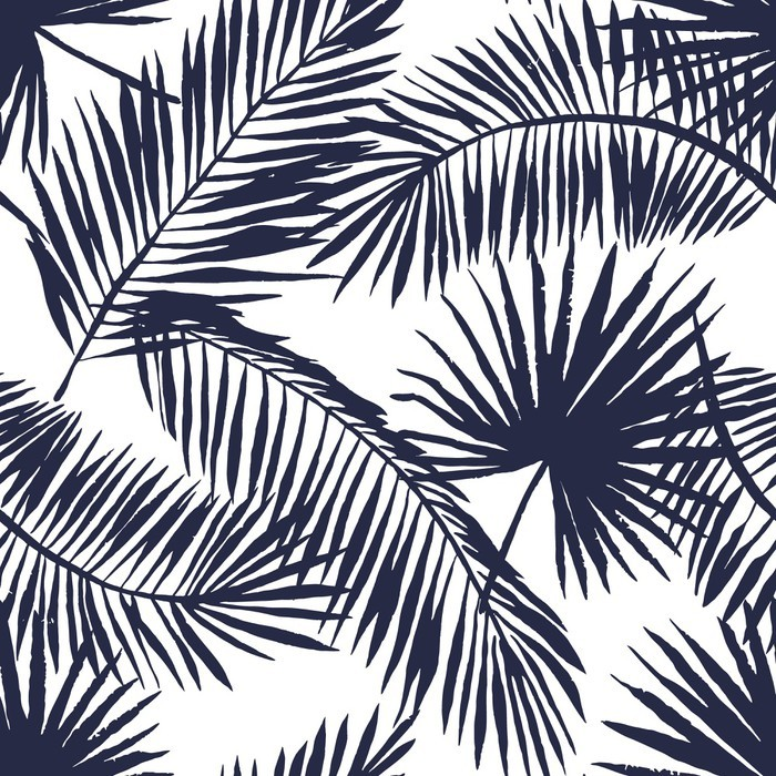 Palm Leaves Silhouette On The White Background Vector Seamless Pattern With Tropical Plants 103746554 on White Victorian Kitchen