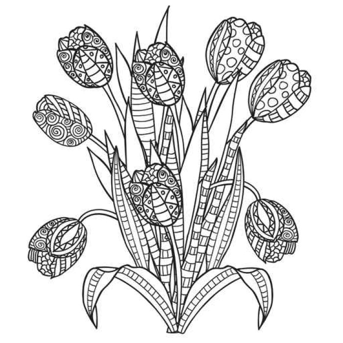 Vinilo para Pared Tulipanes, flores, negro ornamental y páginas para ...