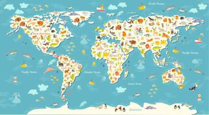Animals world map beautiful cheerful colorful vector illustration animals world map beautiful cheerful colorful vector illustration for children and kids with the gumiabroncs Gallery