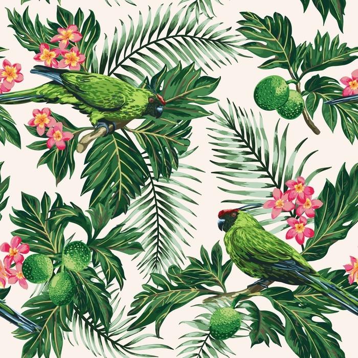 papier peint motifs motif tropical sans couture avec des feuilles des fleurs et des. Black Bedroom Furniture Sets. Home Design Ideas