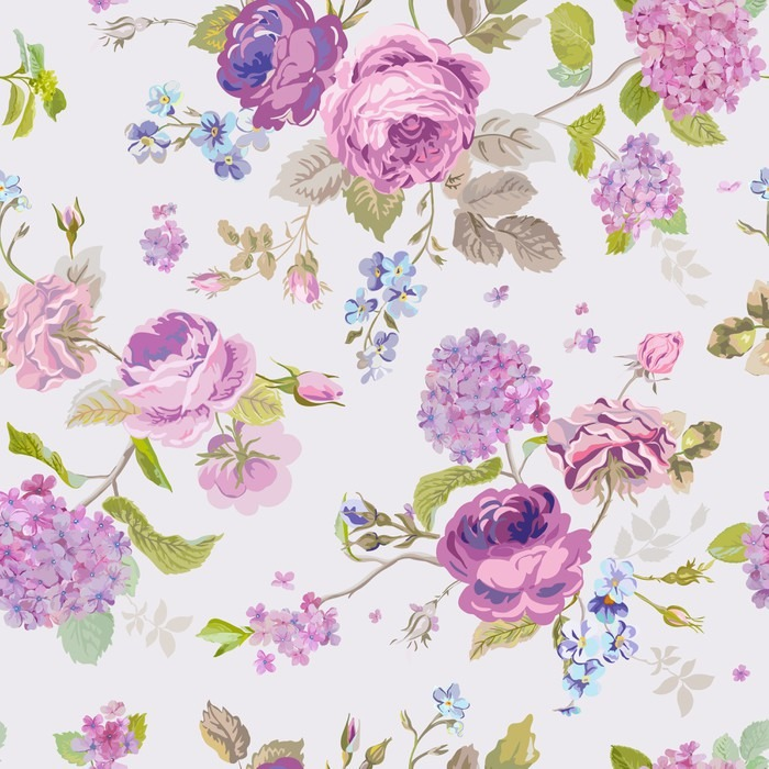 Papier peint fleurs de printemps fond seamless floral shabby chic pixers nous vivons pour - Papier peint shabby chic ...