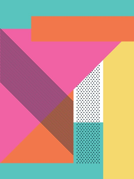 Abstract retro 80s background with geometric shapes and pattern. Material design wallpaper. Wall