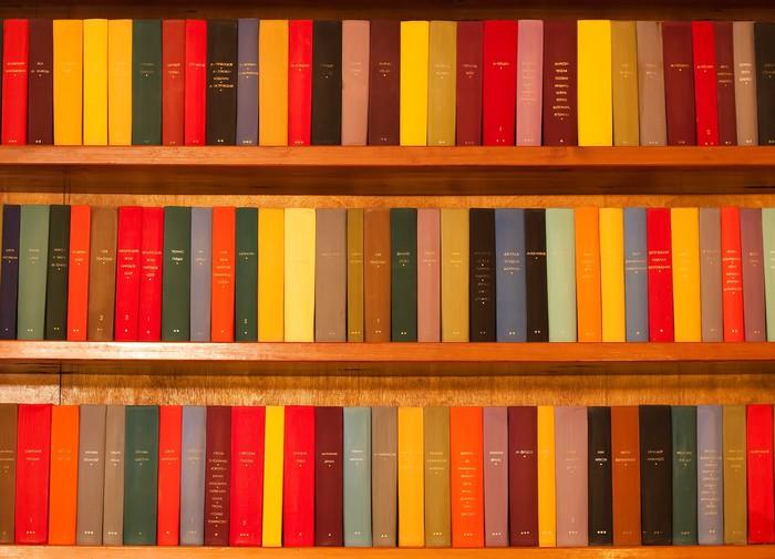 Carta da parati scaffale in legno con i libri multicolori for Carta da parati libri