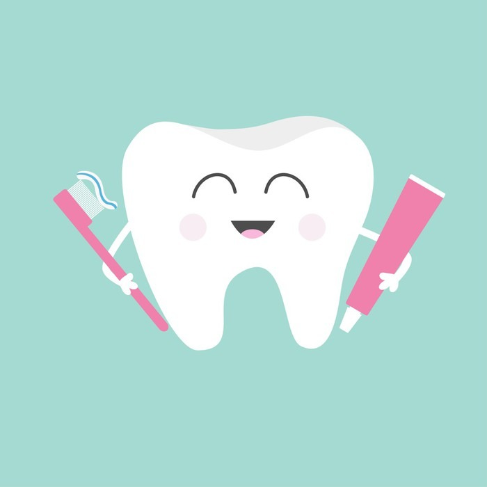 Tooth Holding Toothpaste And Toothbrush Cute Funny
