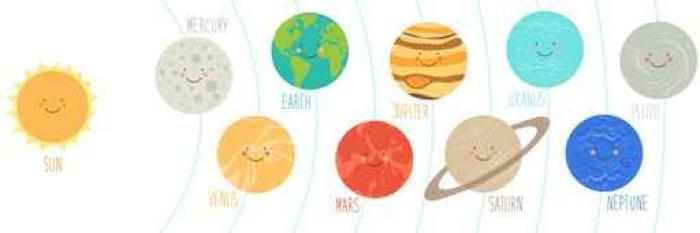 Nalepka Pixerstick Usmivajici Se Kreslene Postavicky Planet Slunecni