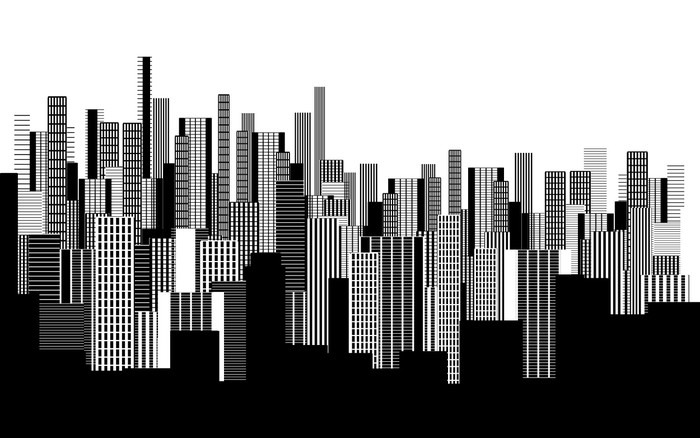 papier peint un r sum papier peint paysage urbain deux couleurs graphique en noir et blanc. Black Bedroom Furniture Sets. Home Design Ideas