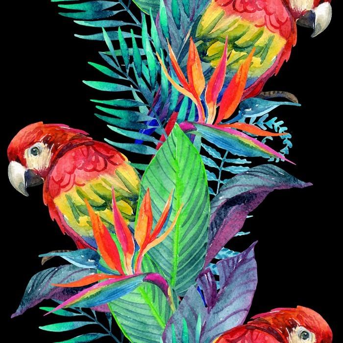 Autocolante para Frigorífico Papagaios da aguarela com flores tropicais padrão sem emenda - Animais