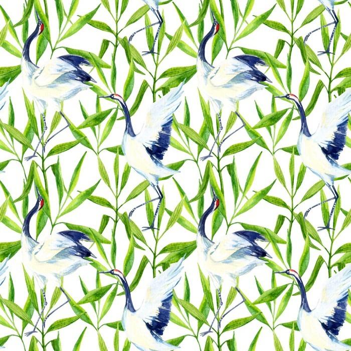 Pixerstick Dekor Akvarell asiatisk kran fågel seamless - Djur