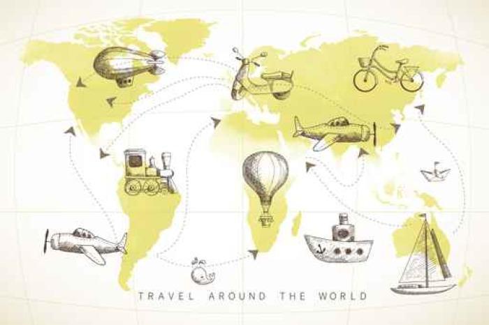 Vinylová Tapeta Travel set. kolekce ikony na mapě světa. - Doprava