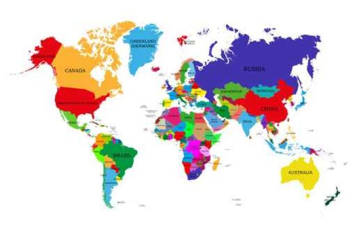 Carta da parati colorata mappa del mondo politico con i for Carta da parati colorata