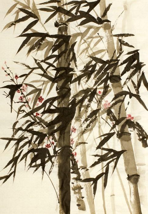 Vinylová Tapeta Bambusové stromy a švestky větev - Rostliny a květiny
