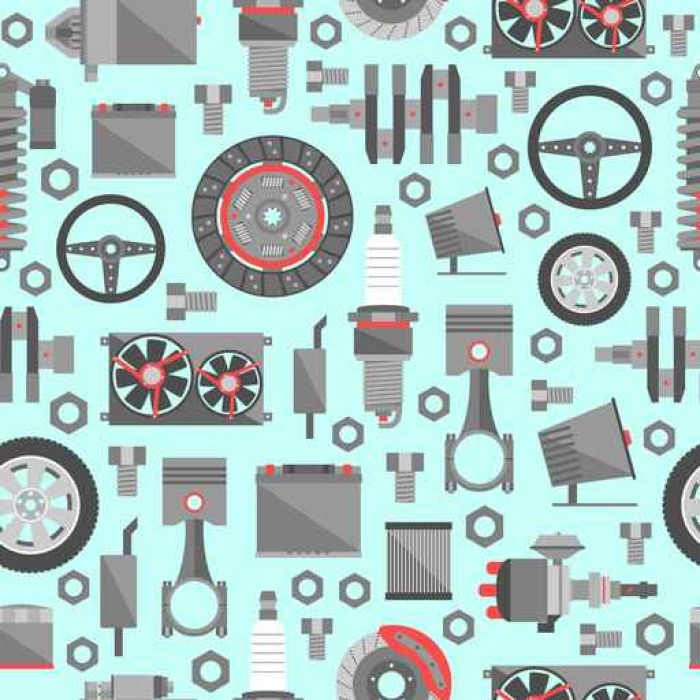Auto spare parts seamless pattern Vinyl Wallpaper - Transport