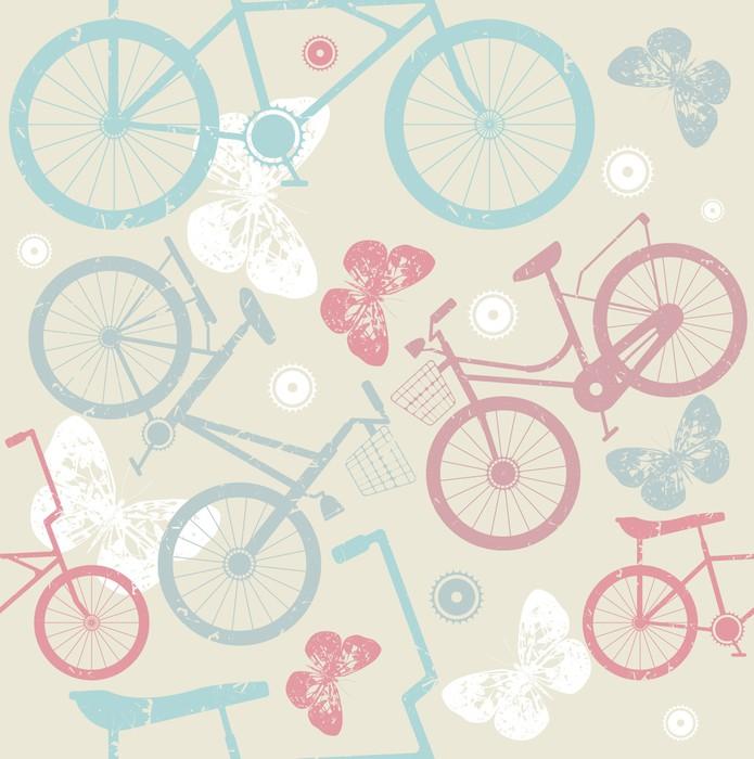 Saumaton malli retro polkupyörillä ja söpö perhosia Itsestäänkiinnittyvä Valokuvatapetti - Taustat