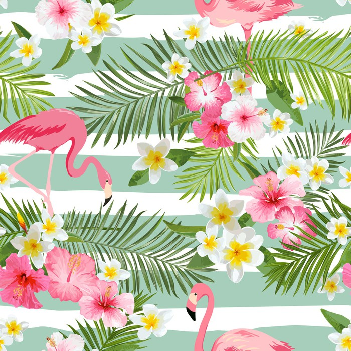 Flamingo Background Tropical Flowers Background Vintage
