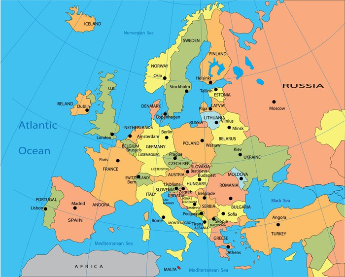 Fototapeta Polityczna mapa Europy Pixers