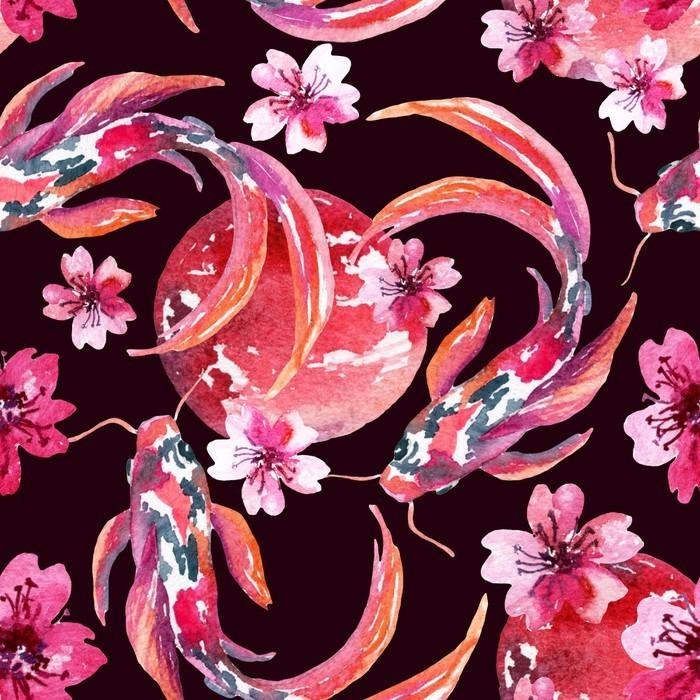 Pixerstick Dekor Vattenfärg asiatisk koi fiskar - Växter & blommor