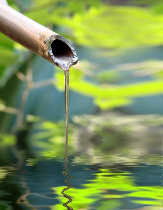 Sticker zen fontaine bambou pixers nous vivons pour for Fontaine zen exterieure bambou