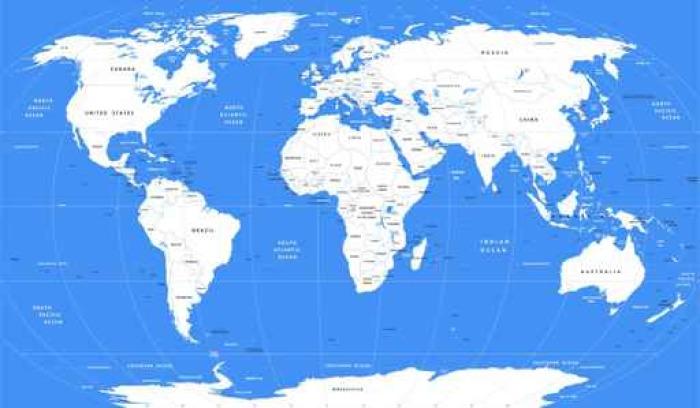 Vinylová Tapeta Vektor bílá mapa světa | Detailní velká politická mapa světa - Cestování