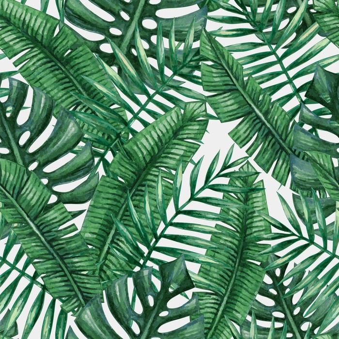 Watercolor Tropical Palm Leaves Seamless Pattern Vector