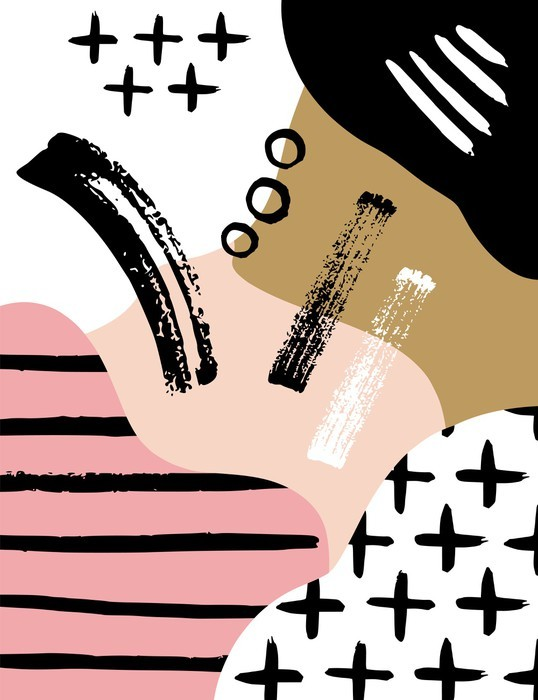 Autocolante para Frigorífico Composição escandinavo resumo em rosa preto, branco e pastel. - Recursos Gráficos