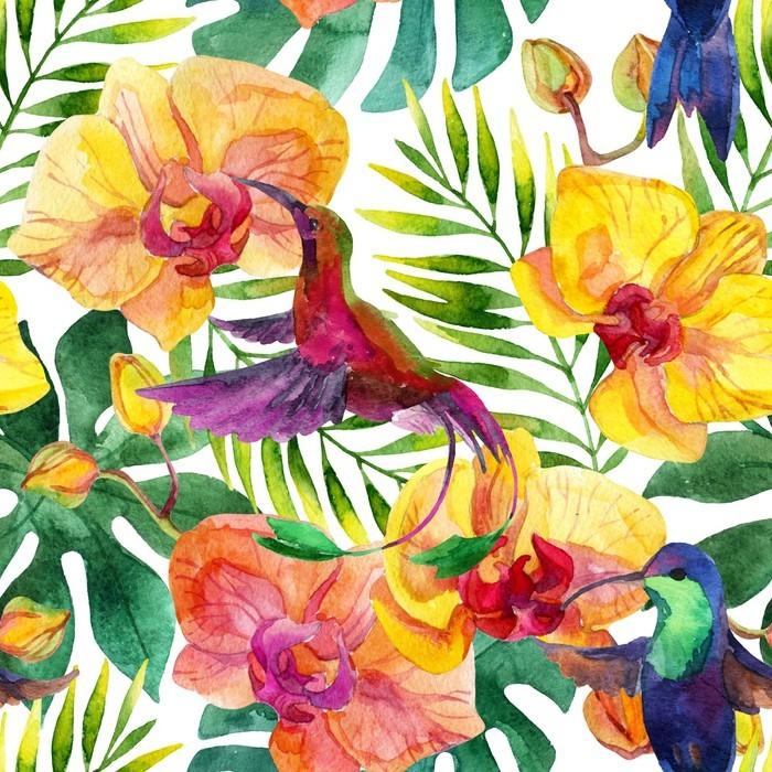 Omyvatelná Fototapeta Jednotný vzor - Rostliny a květiny